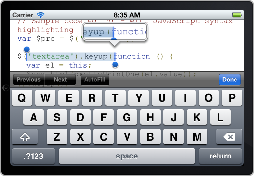 example of rich text selection in ios