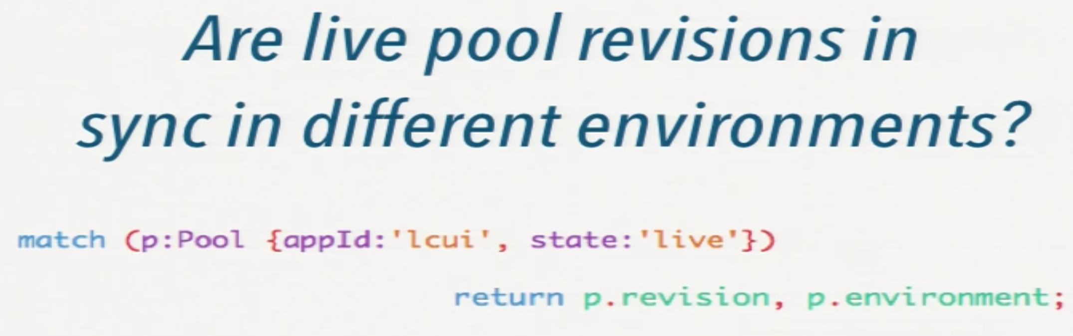 a cypher query to determine if live pool revisions are in sync