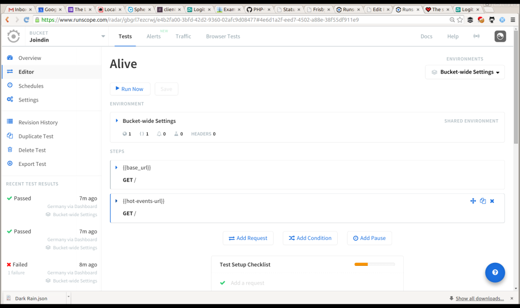 create a runscope test