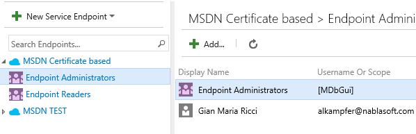each service endpoint has its security setting to specify people that can administer or read the endpoint