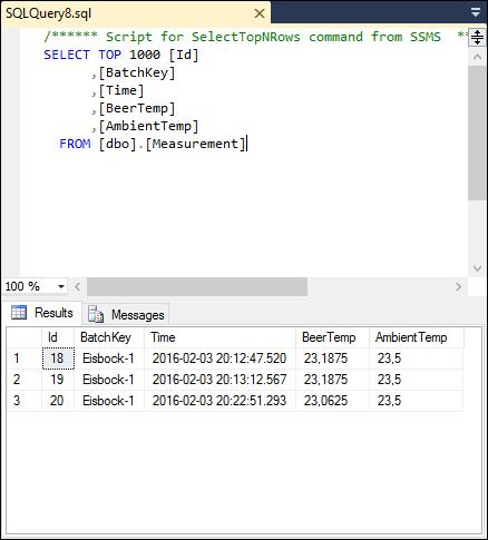 data in sql database inserted by stream analytics