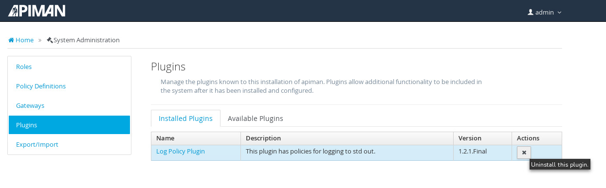 image: log policy plugin uninstalled