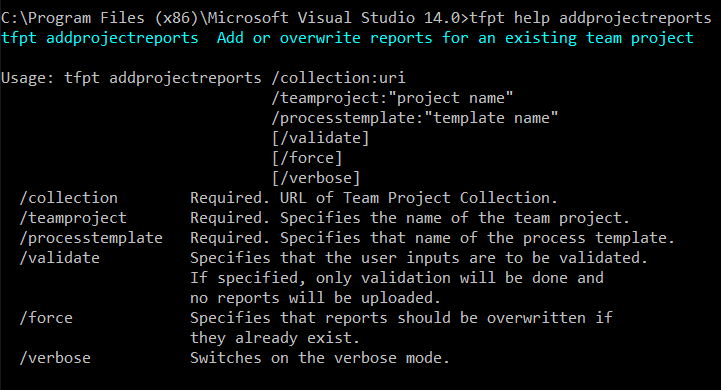 this image shows the list of options available to the addprojectreports command.