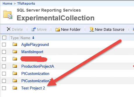 after tfpf addprojectreports command all reports for the team project are correctly created in reporting services site