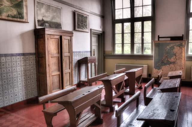 wood classroom with wooden benches