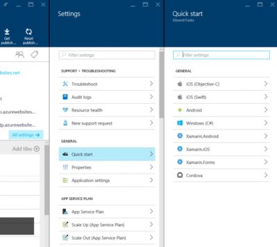 quick start option in azure mobile app