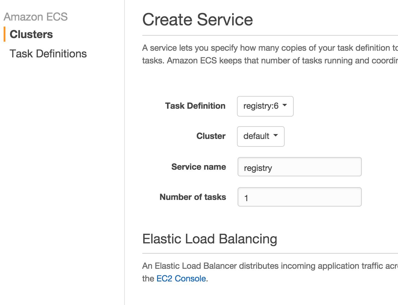 docker private registry create service