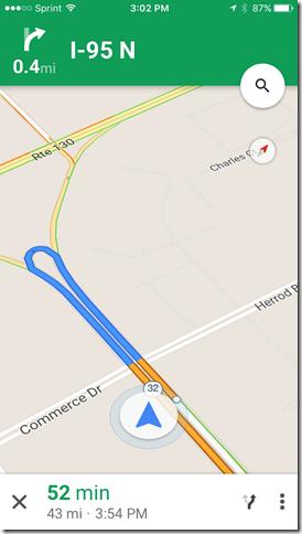 google maps app main screen