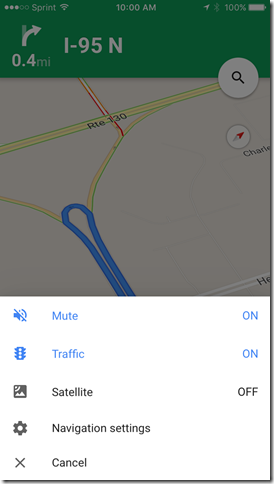 google maps app mute on setting