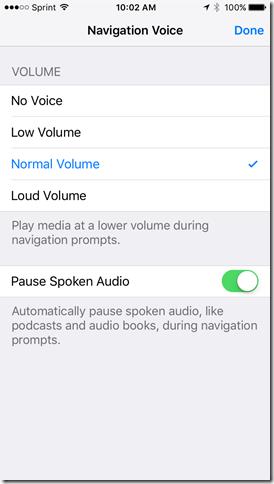 apple maps app navigation voice settings