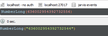 calling numberlong(636002954392732556) function returns a rounded number,