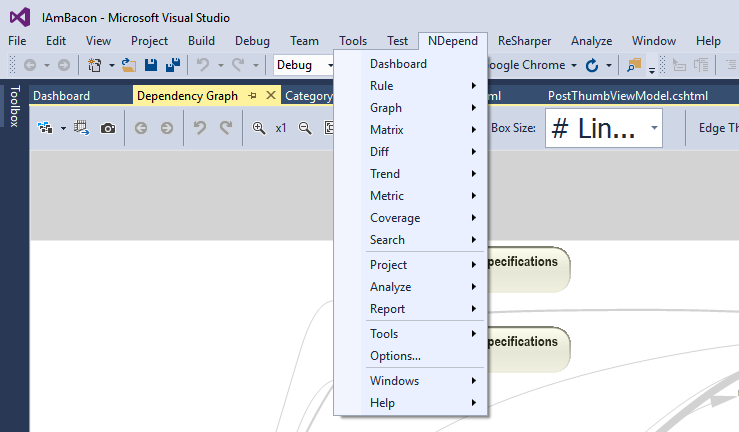 the ndepend toolbar in visual studio