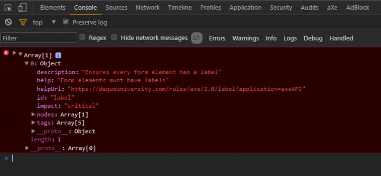 axe - console errors
