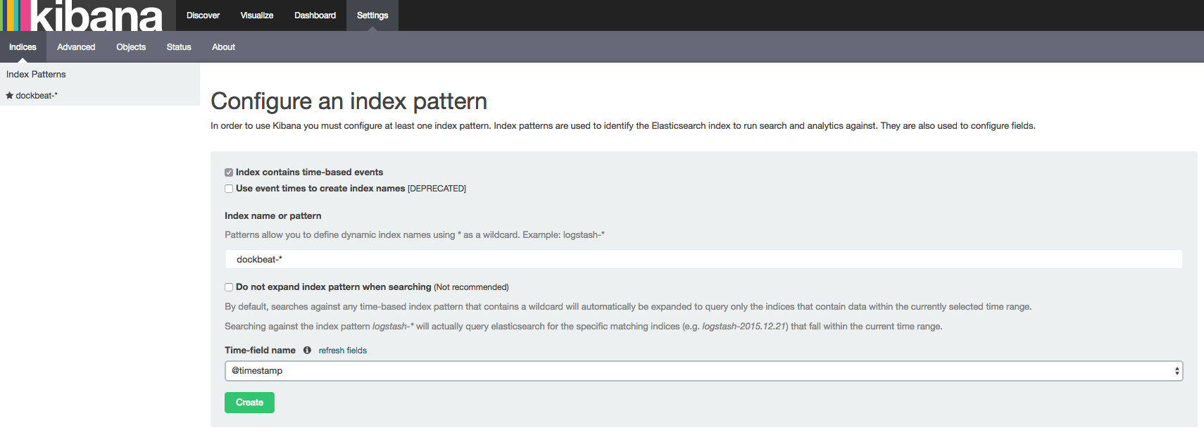configure kibana index pattern