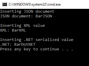 console output of sample program creating non-json values in couchbase server