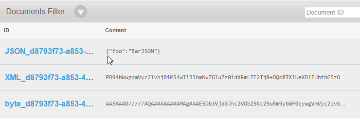 view of json and byte array values in couchbase console