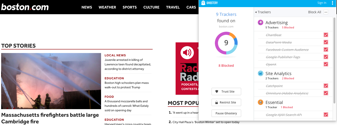 boston dot com with ghostery