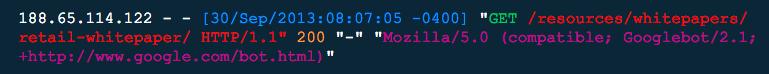 server log entry