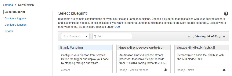 aws lambda function select blue print