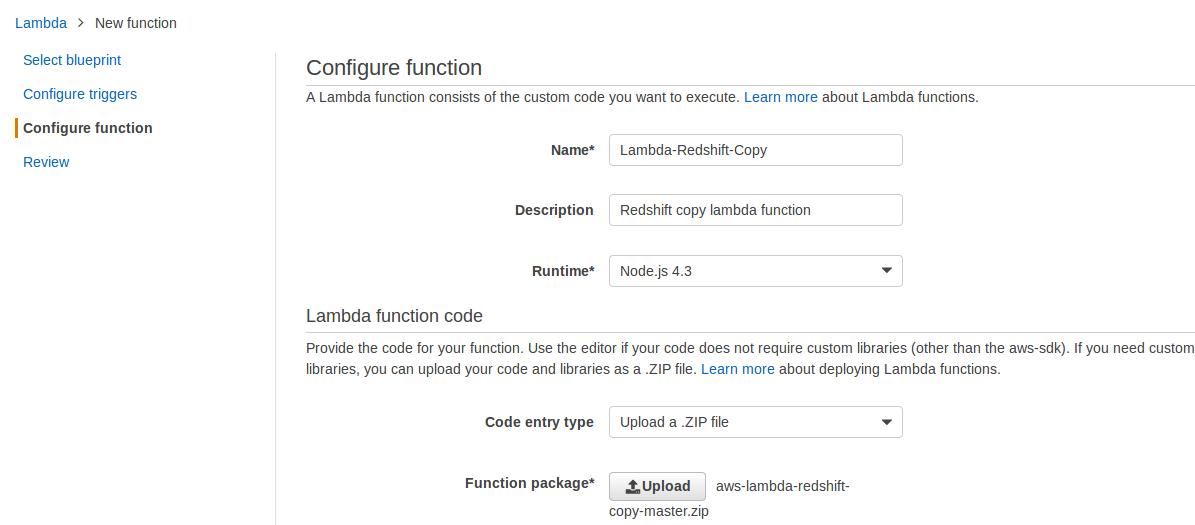 aws lambda configure action