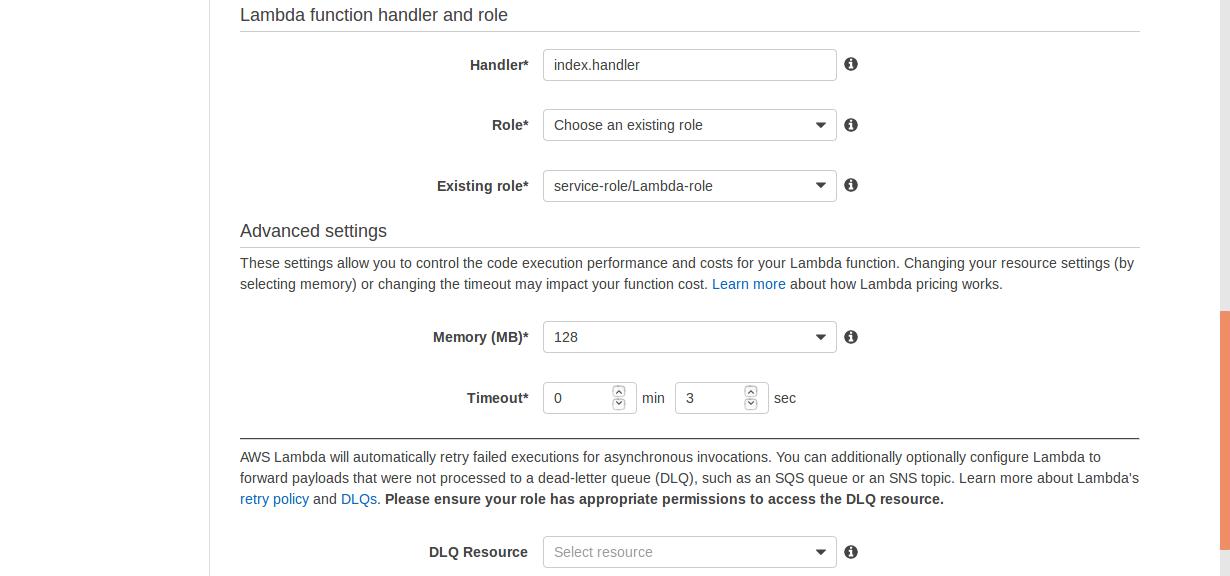 aws lambda advanced settings