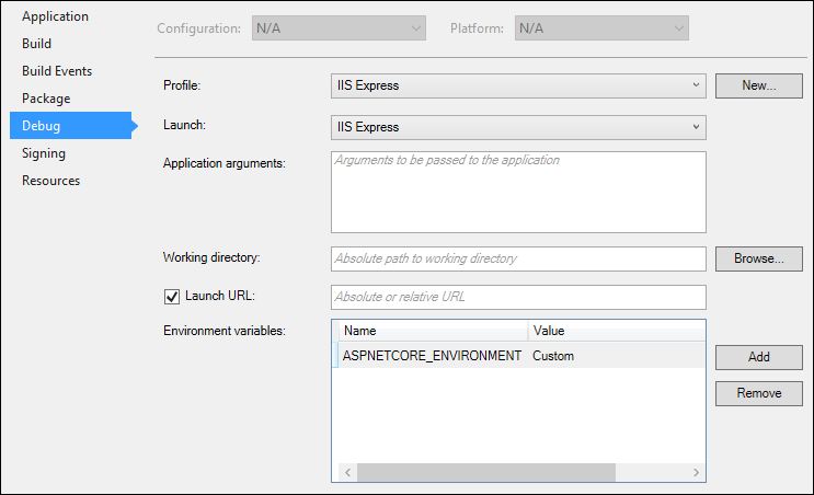 aspnetcore_environment variable on project properties page