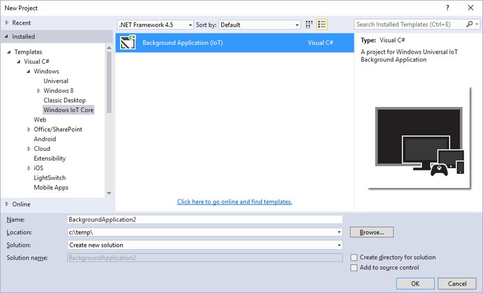 visual studio 2015: create new windows iot core application