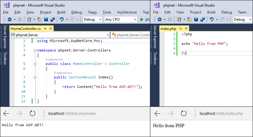 peachpie: php and asp.net core mvc in same application