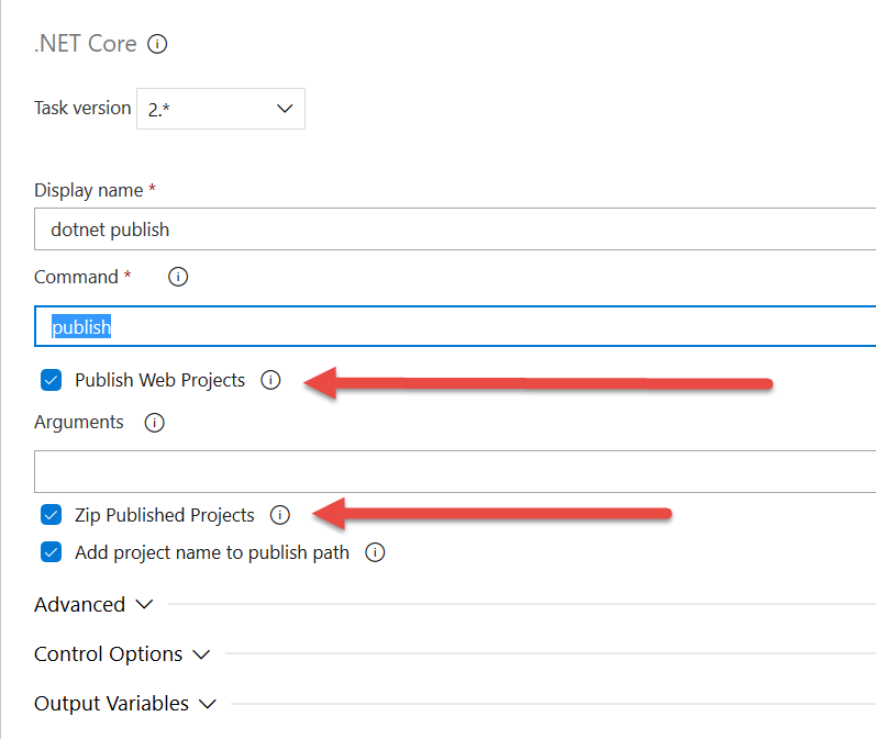 default value for the dotnet publish command