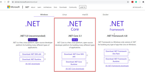 .NET Core in Microsoft Store