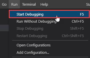 Run > Start Debugging