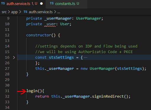 AuthService login method.