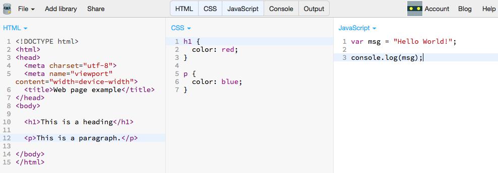 Figure 2 HTML, CSS and JavaScript panels on JS Bin