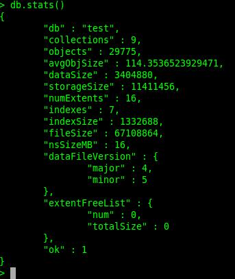A db.stats() example, showing dataSize, storageSize, and fileSize