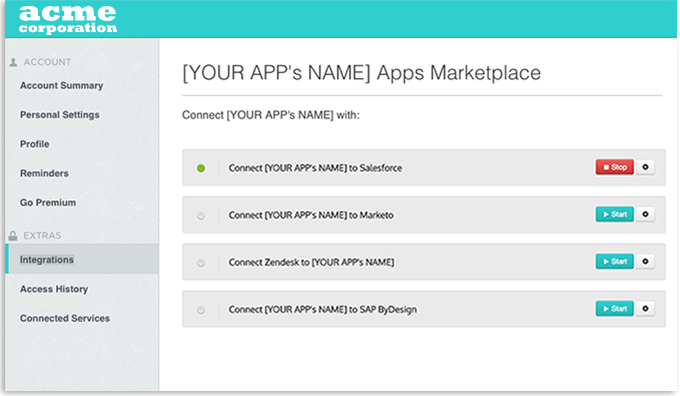 Embedding an integration platform functionality into an application