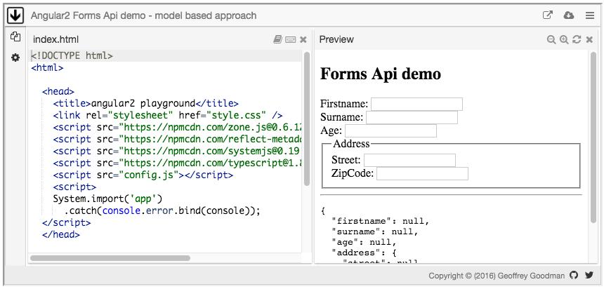 Angular2 Forms Api demo - model based approach
