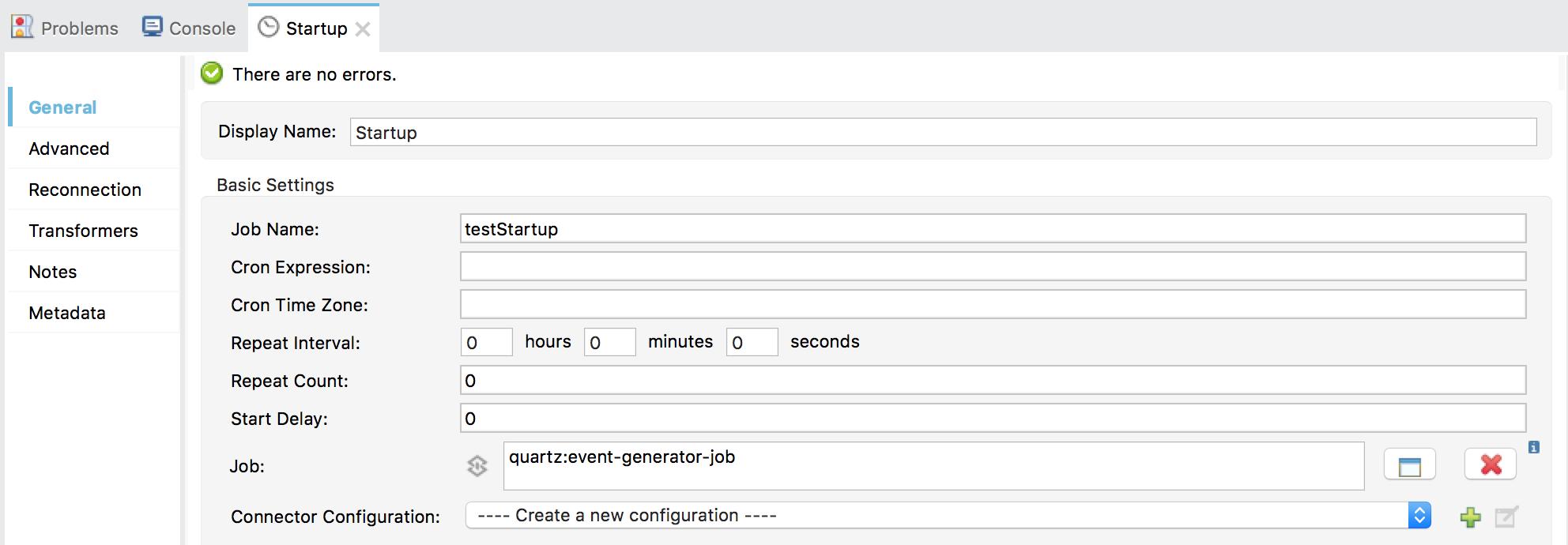 Quartz connector configuration for startup flow