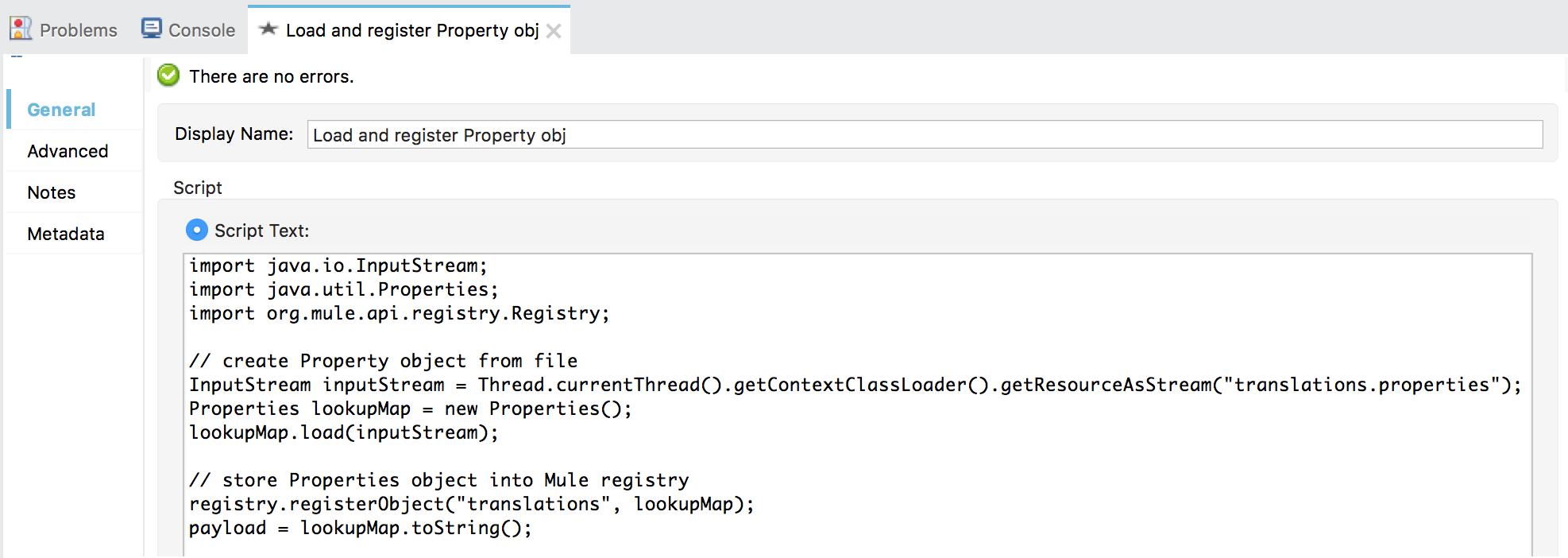 Groovy script to load properties into Mule registry