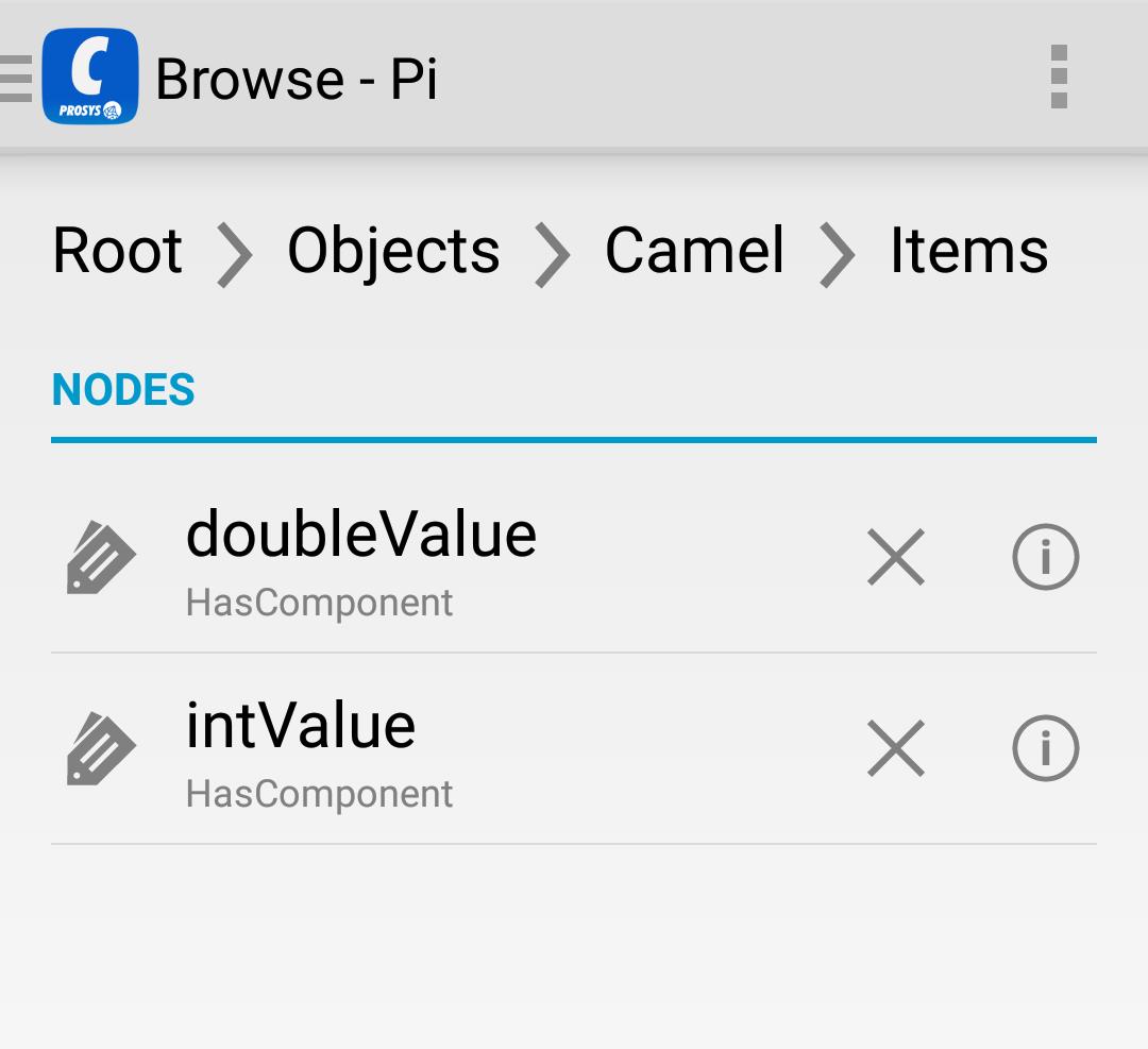 Screenshot of OPC UA client