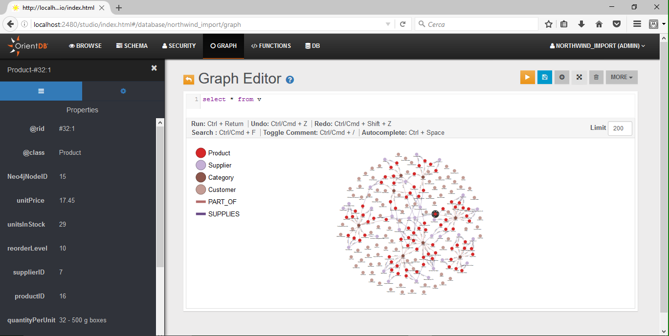 Studio: Graph Editor (partial visualization of the northwind database)