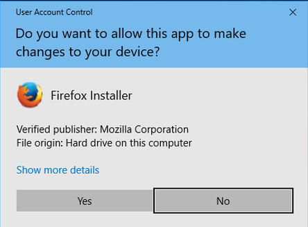 UAC Prompt on Firefox Installer