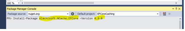 Figure 3 : Visual Studio Package Manager – Installing NCache EF Core provider
