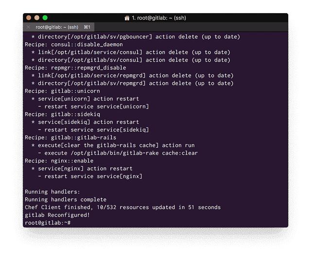 GitLab Reconfiguration Success Message