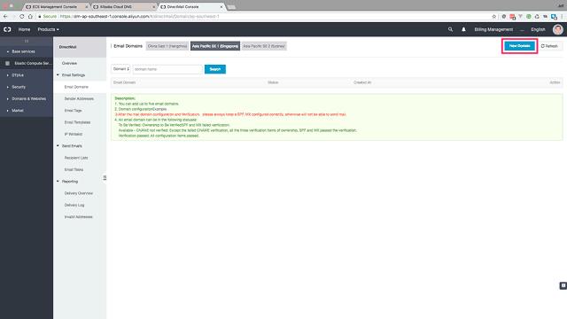 Click the 'New Domain' button